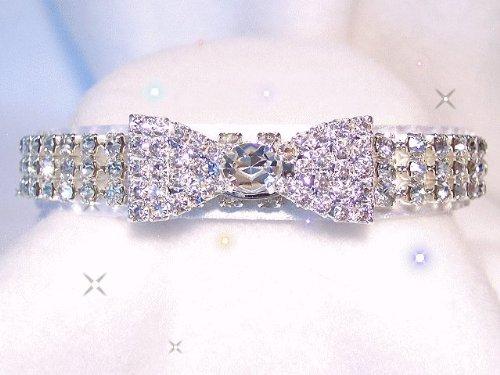 ~White Bow Tie & Velvet~ Crystal Bowtie Rhinestone Dog Cat Pet Collar Sz Small