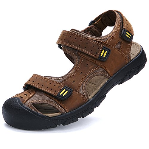 Deer Mens Sandles Leather Athletic Sport Beach Flats Shoes Light-brown XdncXs