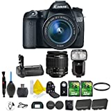 Canon EOS 70D 20.2 MP Digital SLR Camera with Dual Pixel CMOS AF Full HD 1080p Video + Canon EF-S 18-55mm IS STM + Dedicated Flash + Multi Battery Power Grip + 2pc 32GB Memory Cards + Camera Backpack