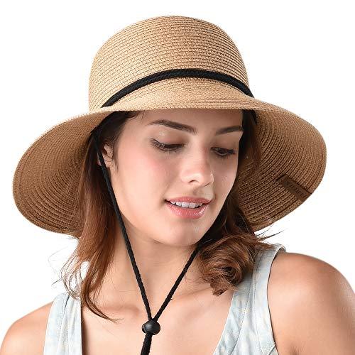 40b82c47 Women's Wide Brim Sun Beach Hat Braided Bucket with Wind Lanyard UPF 50+  Khaki