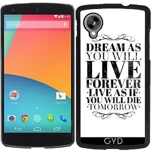 Funda para Google Nexus 5 - Vivir Para Siempre / Morir Mañana by wamdesign