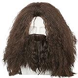 Hagrid Wig Movie Cosplay Brown Long Curly Hair Beard Costume Accessories Coslive