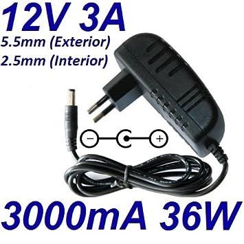 Cargador Corriente 12V 3A 3000mA 5.5mm 2.5mm 36W Pared Wall ...