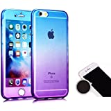 TheTransporter Slim 360 degree Protective Shockproof Front and Back Full Body TPU Silicone Gel Case Cover For iPhone 5C Blue / Purple