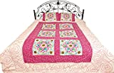 Ivory Gujarati Bedspread with All-Over Embroidered Flowers and Mirrors - Pure Cotton with Pillow Cov