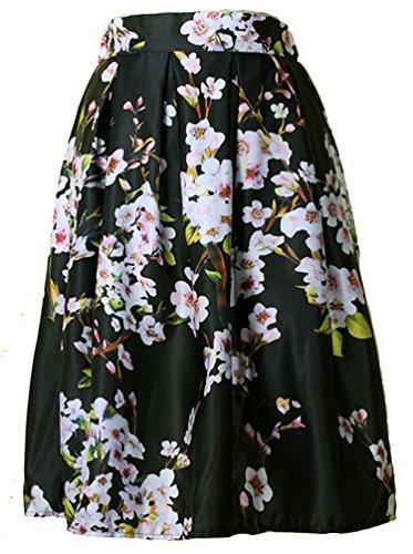 jupe Petit Taille Noir Rose de Fleur cru haute floral Helan femmes ebouriffer 6w0qRU