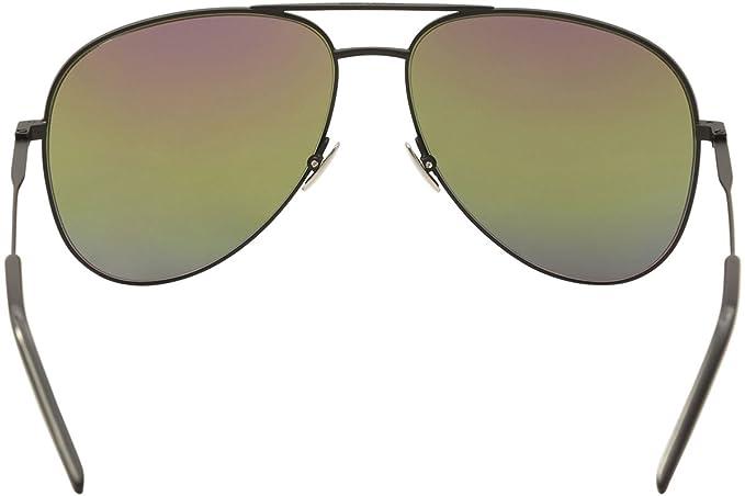 de88556db5850 Saint Laurent Classic 11 Rainbow 007 Black Classic 11 Rainbow Pilot  Sunglasses at Amazon Women s Clothing store