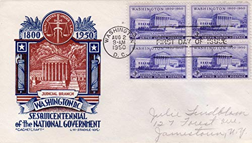 Washington Sesquicentennial The National Government Judicial Branch Set of 4 X 3¢ Postmarked Aug 2 1950 Cancelled First Day Issue ()