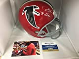 Deion Sanders Autographed Full Size Atlanta Falcons Red Throwback Helmet PRIME TIME Inscribed Radtke Sports COA & Hologram W/Photo Of Signing
