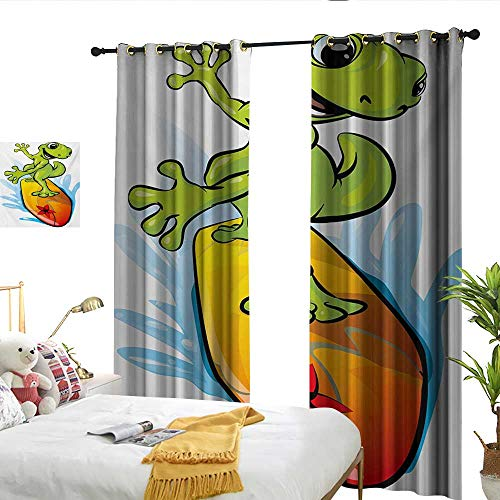 WinfreyDecor Ride The Wave Insulated Sunshade Curtain A Gecko Surfing with The Water Cute Animal Humor Cartoon Darkening and Thermal Insulating W84 x L108 (Gecko Sunshade)