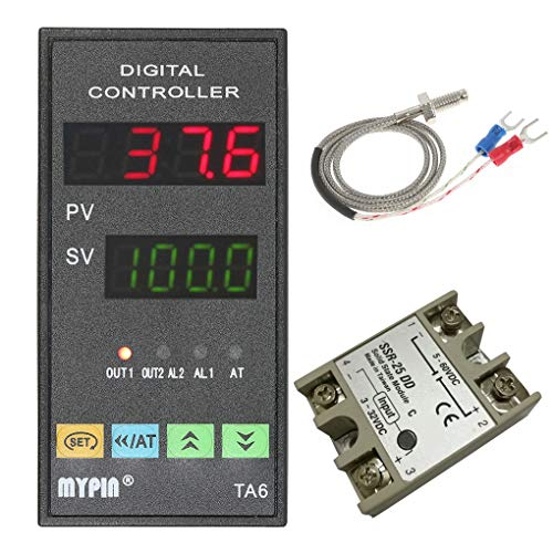 Arichtop MYPIN Digital TA6-SNR PID Temperature Controller with Relay DIN 1/8 SSR-25DA K Type Thermocouple Dual Display for F/C 7 Output ()