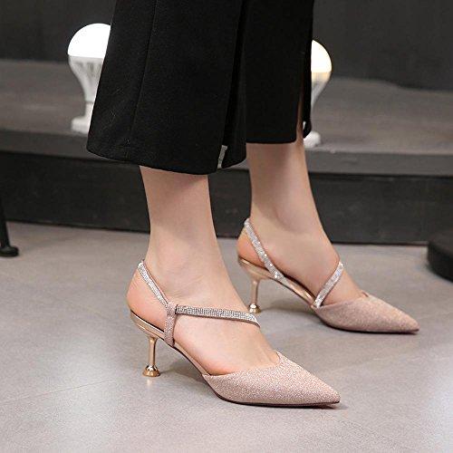 4cm J121 Frau Hohen Absatzhöhe ZHWEI Sommer Frühling Sandalen mit Schuhe und Absätzen 8 O4xSg7w