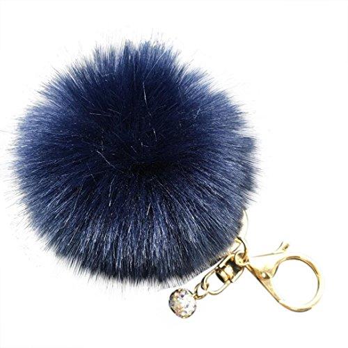 om Keychain for Handbag Decoration,Cell Phone, Car Keyring, Purse Charm Fluffy Puff Ball (Navy Blue) ()