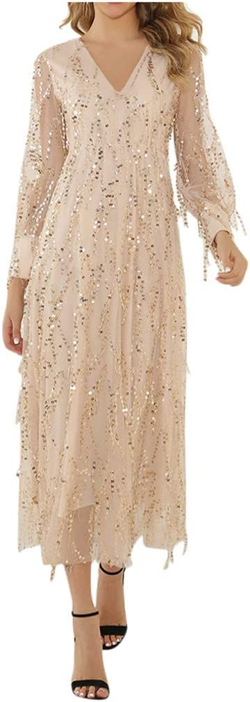 Onefa Women Formal Wedding Bridesmaid Long Evening Party Prom Ball Gown Cocktail Dress Long Sleeve Elegant Dress
