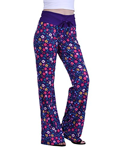 HDE Womens Cotton Pajama Pants Wide Leg Sleepwear Casual Loose Lounge PJ Bottoms (Lounge Jersey Pants Printed)