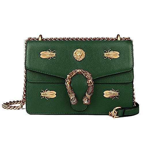 (Beatfull Fashion Leather Crossbody Bag for Women Desinger Shoulder bags with Chain Messager Purse Lion Insect (Grass green))