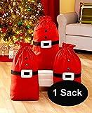 Santa's Gift Sack Bag Christmas Gifts Presents Bag (1) Christmas Gift Sack Santa Clause Gift Bag with drawstring