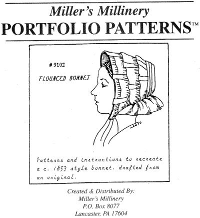 Victorian Sewing Patterns- Dress, Blouse, Hat, Coat, Mens 1850s Flounced Bonnet Pattern $15.95 AT vintagedancer.com