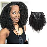 Sassina Top 8A Grade Remy Hair Extensions Clip in For Black Women Natural Black Afro Kinky Coily Clip in Human Hair Double Wefts 120 Grams 7 Pieces/Set With 17 Clips 4AC 12 Inch