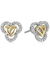 Love Knot Sterling Silver and 14k Gold Diamond Love Knot Heart Earrings