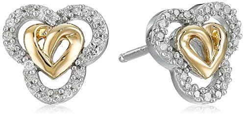 Love Knot Sterling Silver and 14k Gold Diamond Love Knot Heart Earrings (14k Gold Diamond Earrings Heart)