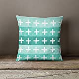 Multi Mint Green Cross Pillow Cover
