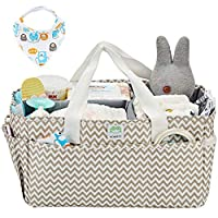 HOMEST Baby Diaper Caddy with 1 Bandana Drool Bibs, Nursery Essentials Organizer Bag for a Baby Shower Gift, Ripple