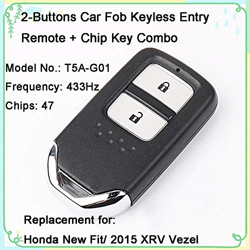 - 1 Sets 2-Buttons 433Hz Car Fob Keyless Entry Intelligent Smart Card Alarm Key Remote Control & Uncut 47 Chips Key Combo Replacement for Honda New Fit 2015 XRV Vezel
