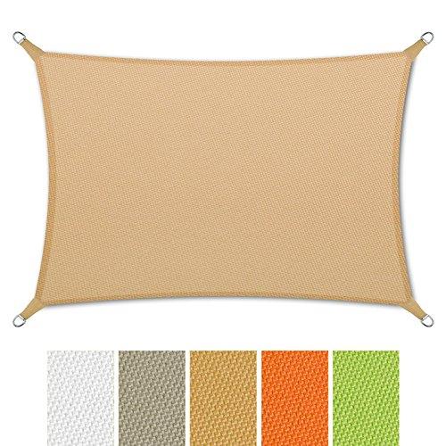 casa pura® Sonnensegel wasserabweisend imprägniert | Rechteck | UV Schutz | verschiedene Farben und Größen (sandfarben, 3x5m)