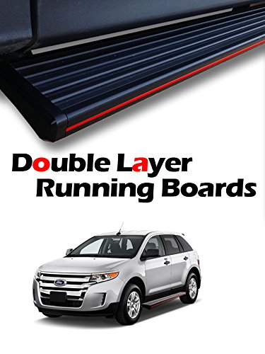 """MPH Auto 5.5"""" wide Stylish Running Boards Custom Fit 2007 2008 2009 2010 2011 2012 2013 2014 07-14 Ford Edge (Excl. Sport and EcoBoost Models); Black Side Step Bar (2pcs; with Mounting Kit) mj-005-r - Edge Running Board"""