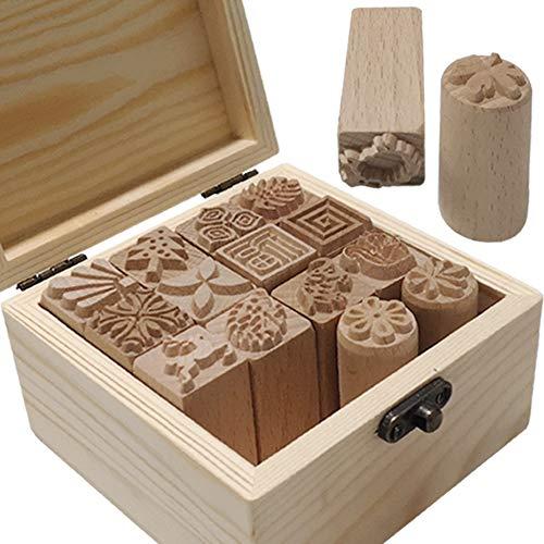 Sellos de bloque de madera para ceramica arcilla pack 16
