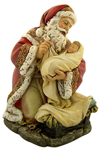 (Adoring Kneeling Santa Holding Infant Jesus Painted Resin Christmas Statue, 7 Inch)