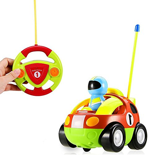 DeXop-BaBrit Cartoon Rc Car Children's Electric Remote Control Car Police Puzzle Remote Control Toys Car With Music And LED