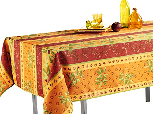 60 x 95-Inch Tablecloth Orange Rustic Olive, Stain Resistant, Washable, Liquid Spills bead up, Seats 8 to 10 People (Other Size: 63-Inch Round, 60x80-Inch, 60x120-Inch)