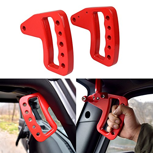 ICARS NEW Red Front Aluminum Grab Handle Grab Bar for Jeep Wrangler JK JKU Unlimited Rubicon Sahara Accessories 2 door & 4 door – Pair