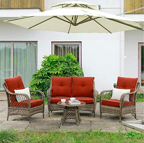 N V Wicker Patio Furniture Rattan Conversation Chairs Loveseat