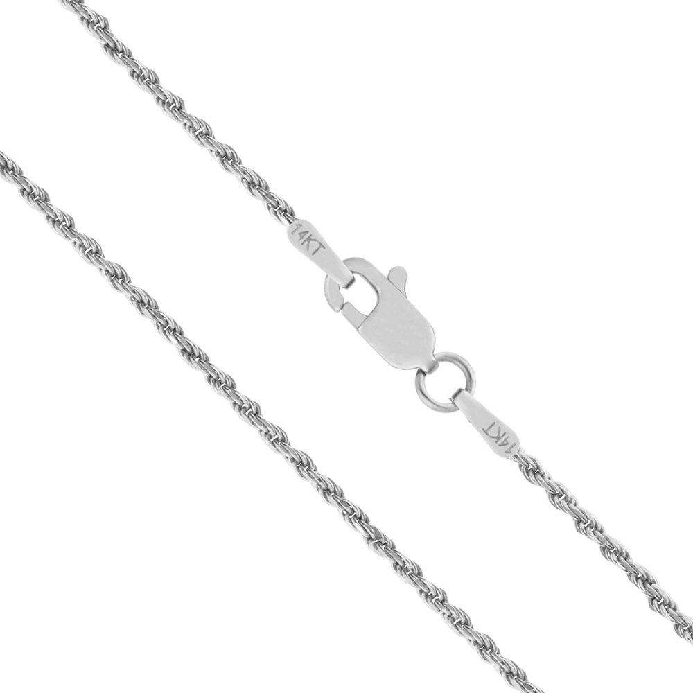 14K Solid White Gold 1mm Rope Chain Necklace - 16 Inches