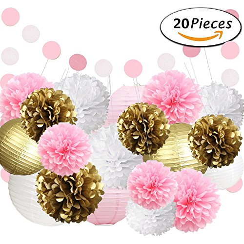 Pink And Gold Party Decorations Kit 20pcs For Baby Shower First