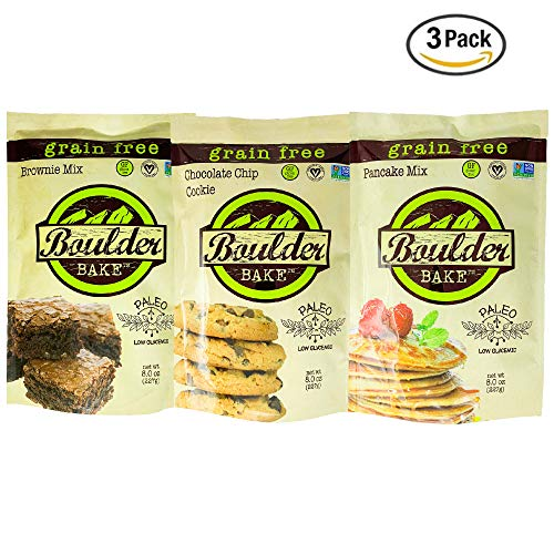 Boulder Bake Brownie, Cookie, and Pancake Mix, Grain and Gluten Free, Paleo, Vegan, Soy Free, Non GMO, Loy Glycemic, Low Carb, Keto Friendly (3 pack)