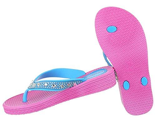 Damen Sandalen Schuhe Sommerschuhe Strandschuhe Zehentrenner Mit Strass Weiß Schwarz Blau Pink Weiß 36 37 38 39 40 41 Blau