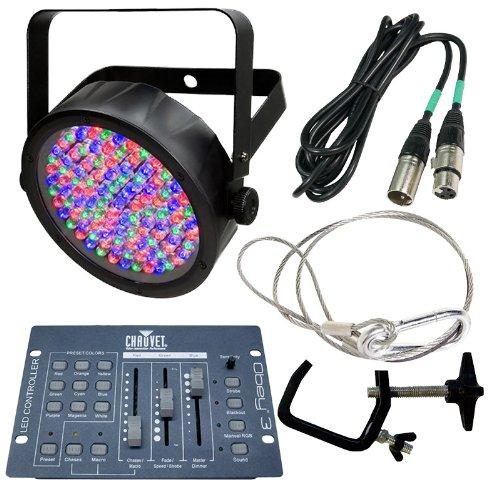 Chauvet SlimPAR 56 LED Par Can w/ Clamp, Strap, 25ft. DMX Cable, DMX Controller Bundle