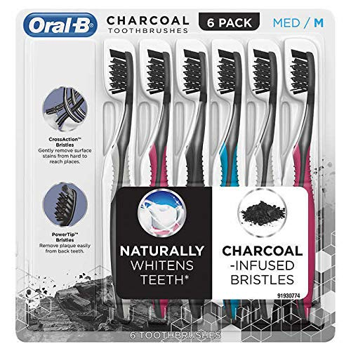 Oral-B Toothbrush Charcoal Infused CrossAction Bristles remove Plaque Stain Naturally Whitens Teeth (Medium)