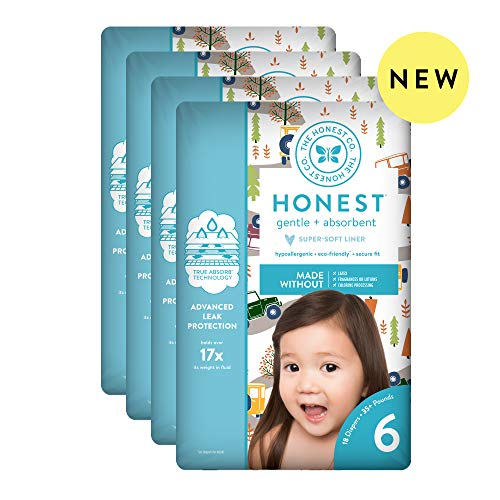 The Honest Company Baby Diapers with TrueAbsorb Technology, Winding Roads, Size 6, 72 Count