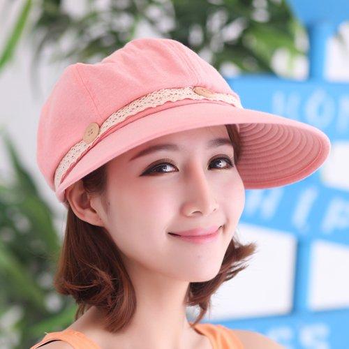 gmnscyq Chapeaux Cap chapeau d'été chapeau de soleil vide Top UV chapeau de soleil en dentelle pliable Sun Cool chapeau femelle, taille (bouton en dentelle), poudre de pastèque