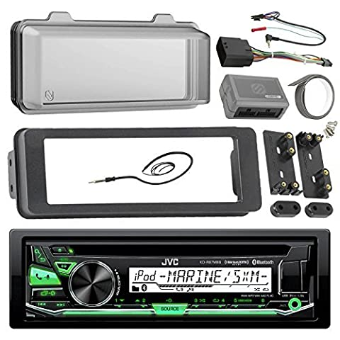 JVC KDR97MBS Marine Radio Stereo Receiver Bundle, 1998 2013 Harley Davidson Touring Flht Flhx Flhtc + Adapter Dash Kit + Handle Bar Control Module + Weathershield Cover + Enrock Wire (Bar Speakers For Tv Boss)