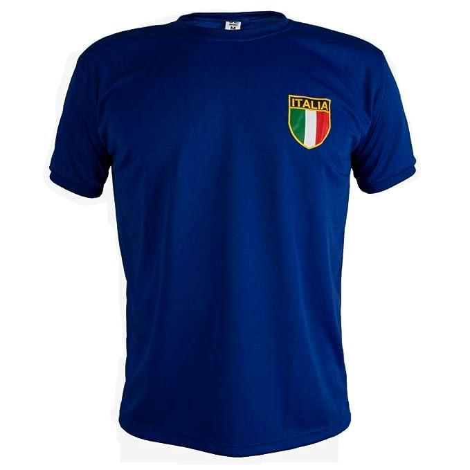 venta minorista 9491d 553ea Italia Camiseta Retro Fútbol Manga Corta para Hombre: Amazon ...