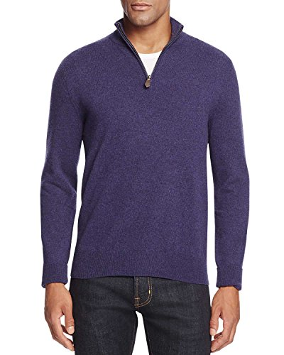 Bloomingdale's Mens 2-Ply Cashmere Half Zip Mock Neck Sweater X-Large Blueberry