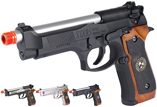 Evike - WE-Tech Samurai Edge Biohazard ATV2 M9 Airsoft Gas Blowback Semi-Auto/Full Auto Pistol - Black - (54078) (Tokyo Marui Full Metal)