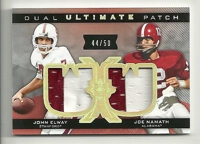 JOHN ELWAY & JOE NAMATH 2013 Ultimate Collection Dual PATCH Serial # 44 of 50