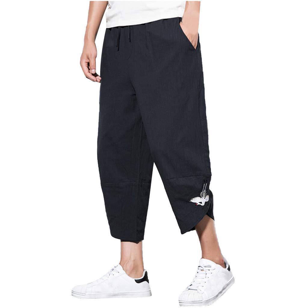 Sunyastor Mens Baggy Casual Trousers Cotton Linen Loose Harlan Pants Elastic Waist Wide Leg Pants Summer Fashion Pants Black